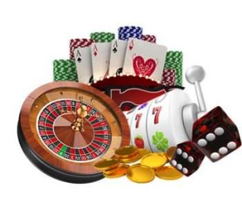 Rouletthjul, spelmarker, spelkort, slotshjul, guldmynt och tärningar